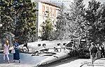 Фашистский самолет на площади Павших борцов