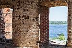 Вид на Волгу сквозь окна мельницы