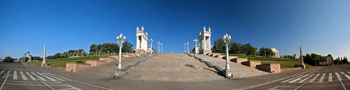 панорама центральной лестницы набережной волгограда фото